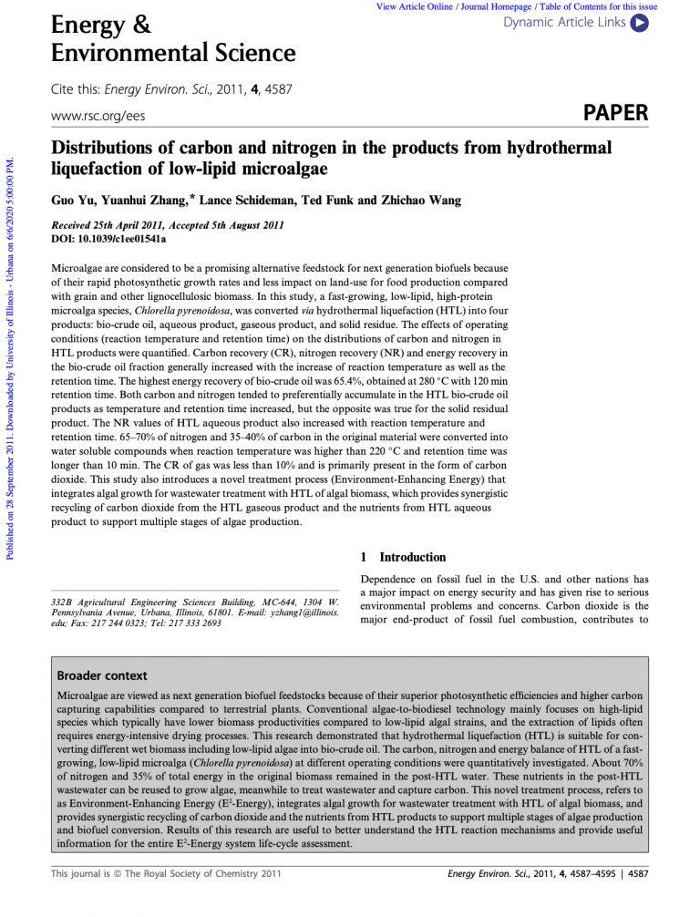 Yu et al.  Energ. Environ. Sci. (2011)
